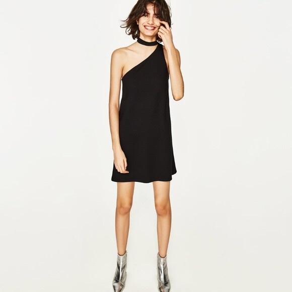 78f50769 Zara Dresses | Straight Cut Dress With Choker | Poshmark